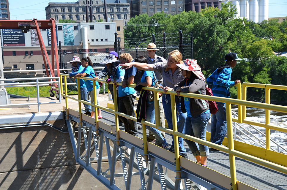 Lock operator gives a tour at Upper St. Anthony Falls Lock and Dam