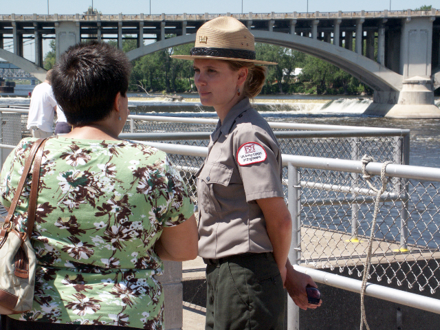 A ranger gives a tour at Upper St. Anthony Falls lock and dam